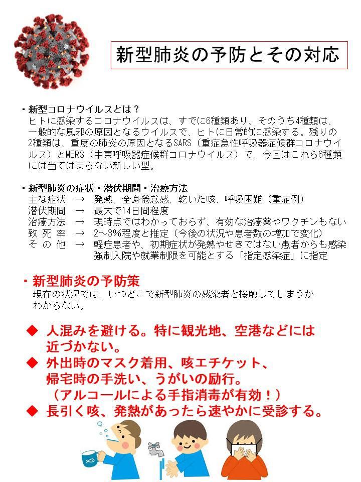 新型 肺炎 予防